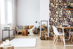 Rustic Living Room with wood pile